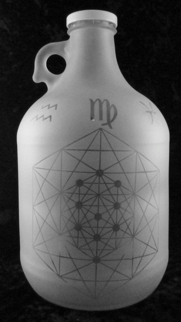 metatrons cube, metatron etched on glass, glass metatron