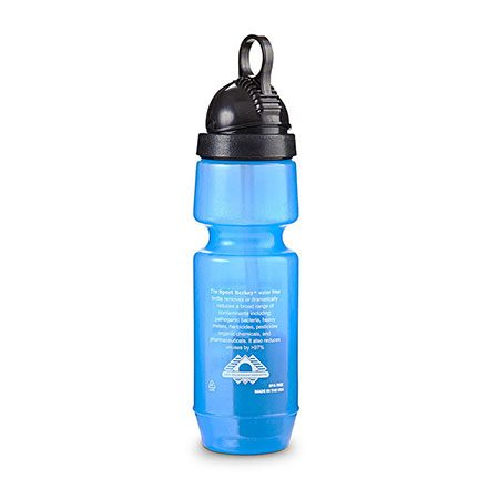 Back of Sport Berkey bottle for water filtration in Canada